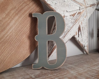 Wooden Letter B - painted and distressed - letter art, interior decor, 15cm