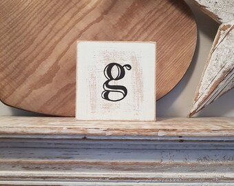 wooden sign, vintage style, personalised letter blocks, initials, wooden letters, monograms, 10cm square, hand painted, rustic, letter g
