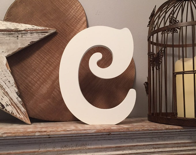 Wooden Letter C – Personalized Name Letter – Nursery Decoration Ideas – Rustic Room Décor – Victorian Style – Decorative Wooden Sign - 25cm