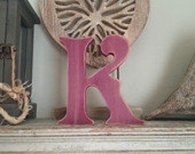 Wooden Letter K – Personalized Name Letter – Nursery Decoration Ideas – Rustic Room Décor – Victorian Style – Decorative Wooden Sign - 25cm