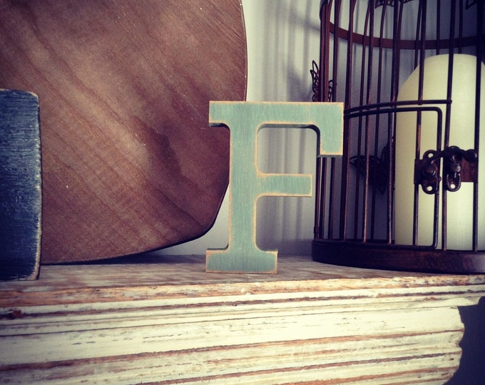 Wooden Letter 'F' - 25cm - Rockwell Font - various finishes, standing