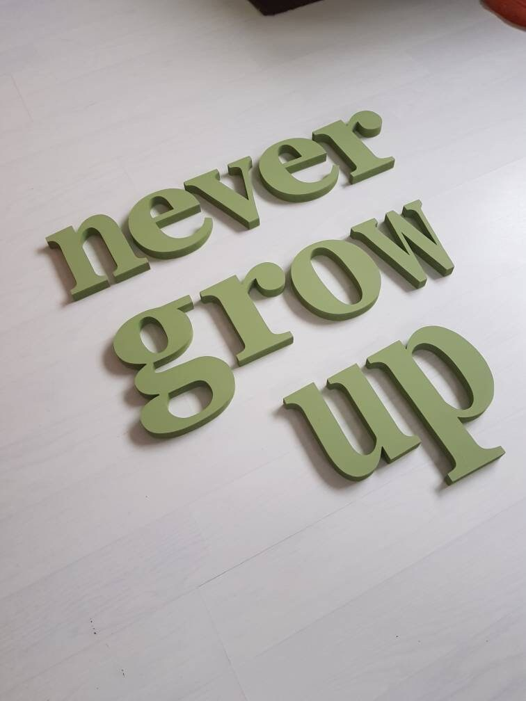 Painted Wooden Letters Never Grow Up Decorative Nursery Kids