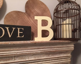 Wooden Letter B – Personalised Name Letter – Nursery Decoration Ideas – Rustic Room Décor – Rockwell Style B – Decorative Wooden Sign