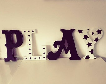 Wooden Letters PLAY, Play Room Decor, Kid's Room, Nursery - wall letters - various colours & finishes, 30cm