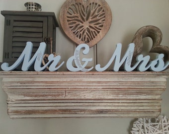 Wooden Wedding Letters - Mr & Mrs - New Script - 10cm - Free-standing - Hand-painted, Personalised