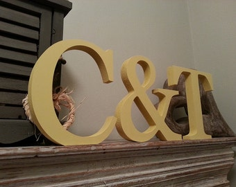 Set of 3 - Handpainted Wooden Freestanding Wedding Letters, Photo Props, 20cm