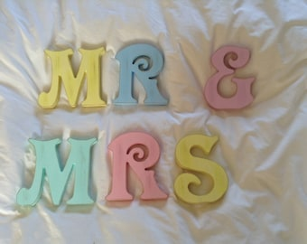 Mr & Mrs - Wooden Wedding Letters - Victorian Style - Various Sizes, Colours and Styles - various colours and finishes