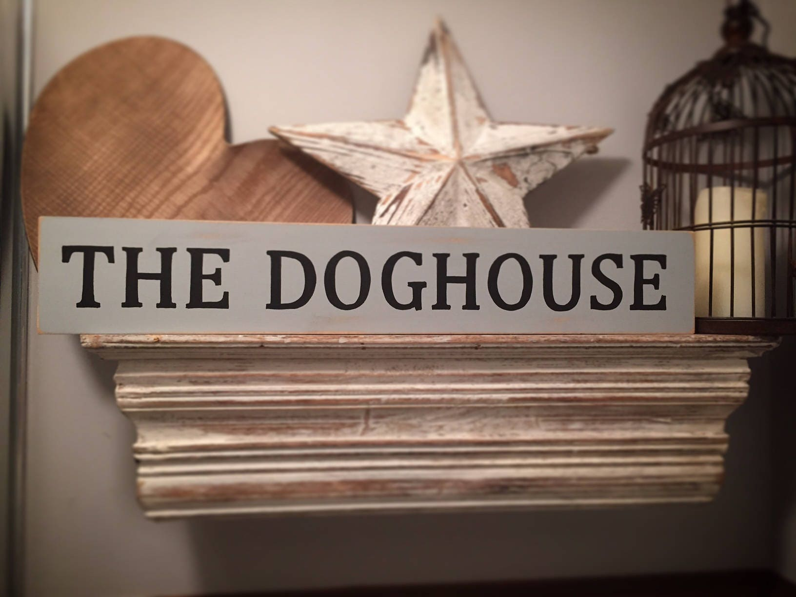 Large Wooden Sign The Dog House Rustic 60cm
