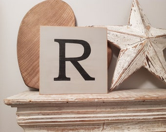 Wooden Letter Blocks, Plaques, Signs, Letter R, 20cm square, all letters available, rustic