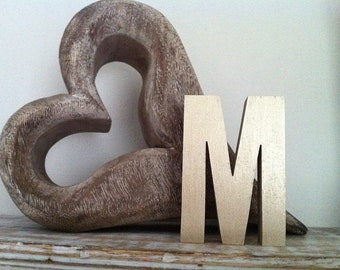 Wooden Letter M - 30cm, Freestanding - Ariel Font - Various sizes, finishes and colours