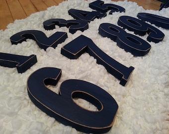 Wedding Table Numbers 1-10 - Handpainted & Freestanding - Set of 11 - 15cm high