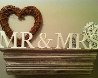 15cm Handpainted Freestanding Script Letters - Mr & Mrs - White