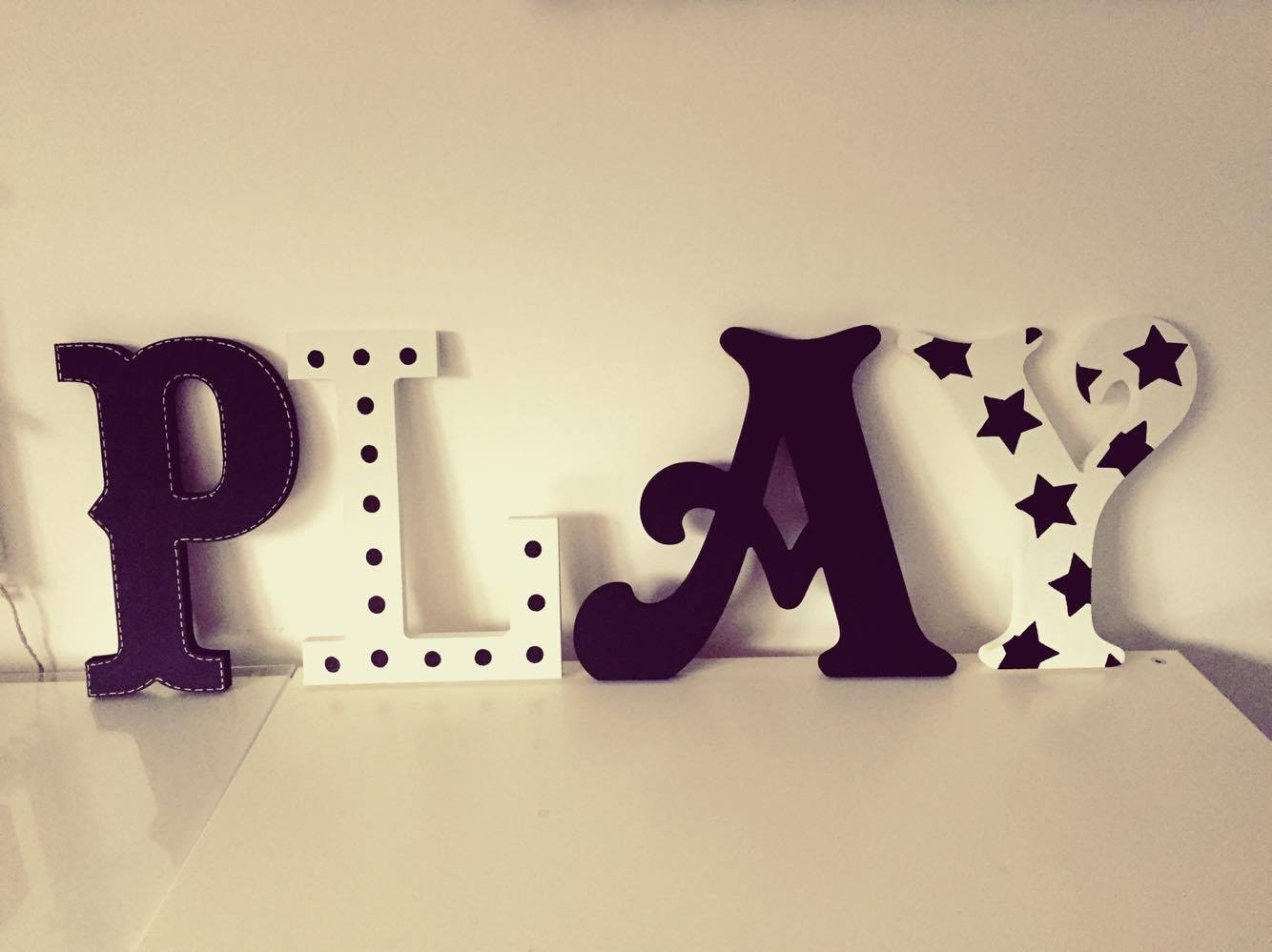 wooden letters play play room decor kid s room nursery wall