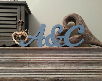 Wooden Wedding Letters - Entwined Initials -Script Font - Any Letters and Colours