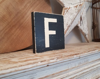 wooden sign, vintage style, personalised letter blocks, initials, wooden letters, monograms, letter F,  10cm square, hand painted