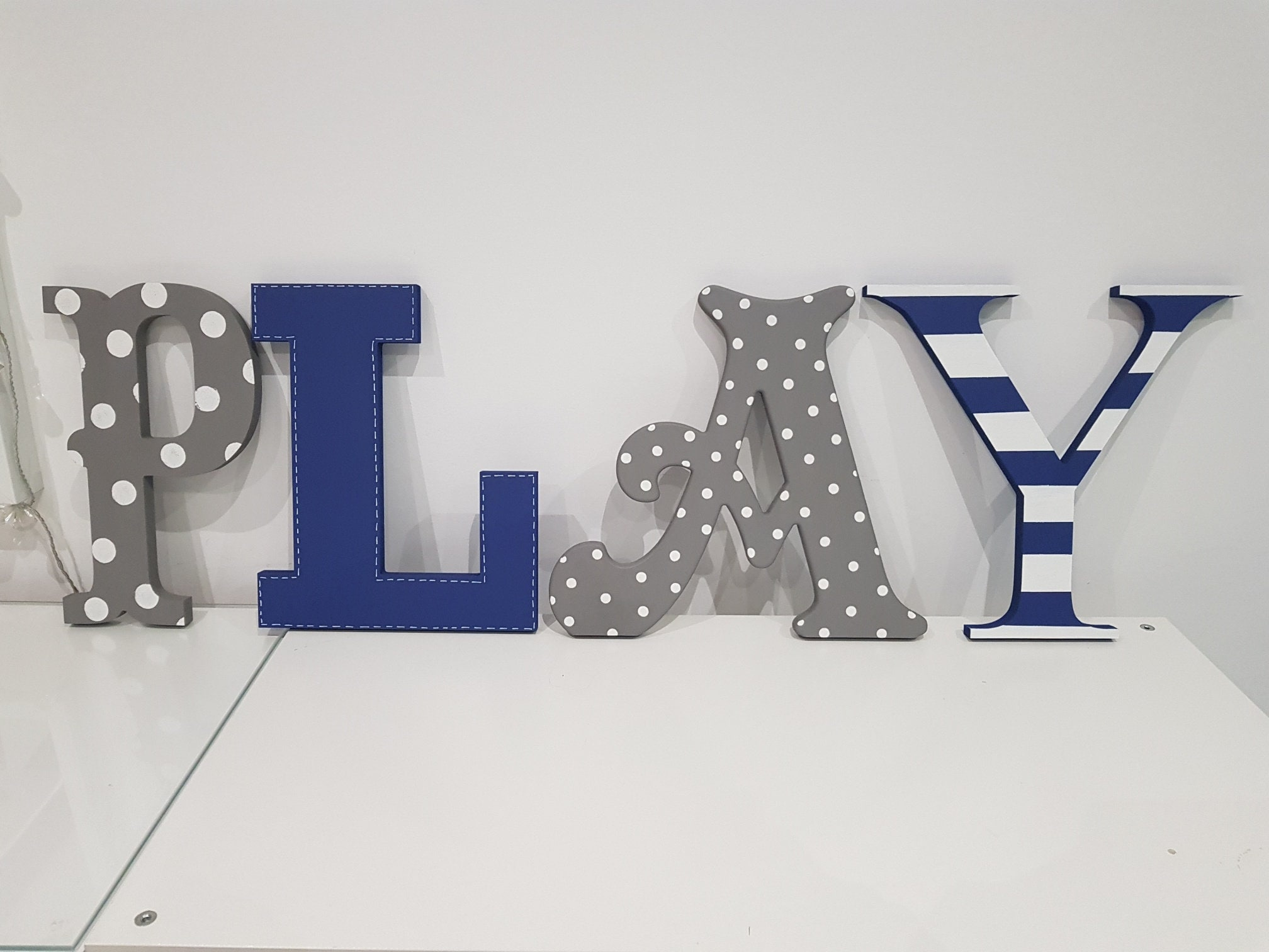 Wooden Letters PLAY, Play Room Decor, Kid's Room, Nursery - wall