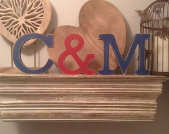 Wooden Freestanding Wedding Letters - Set of 3 - Hand-painted, Photo Props