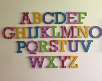 Painted Wooden Alphabet - Hand Painted Wooden Letters Set - 26 letters - 10cm high - Complete Alphabet