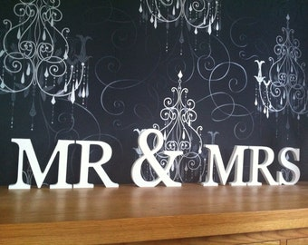 Free-standing Wooden Letters - Mr & Mrs - Weddings - Hand-painted - 20cm letters, 25cm ampersand