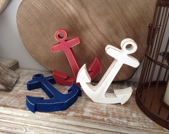 Painted Wooden Anchor - Standing - 25cm - Various Colours and Finishes