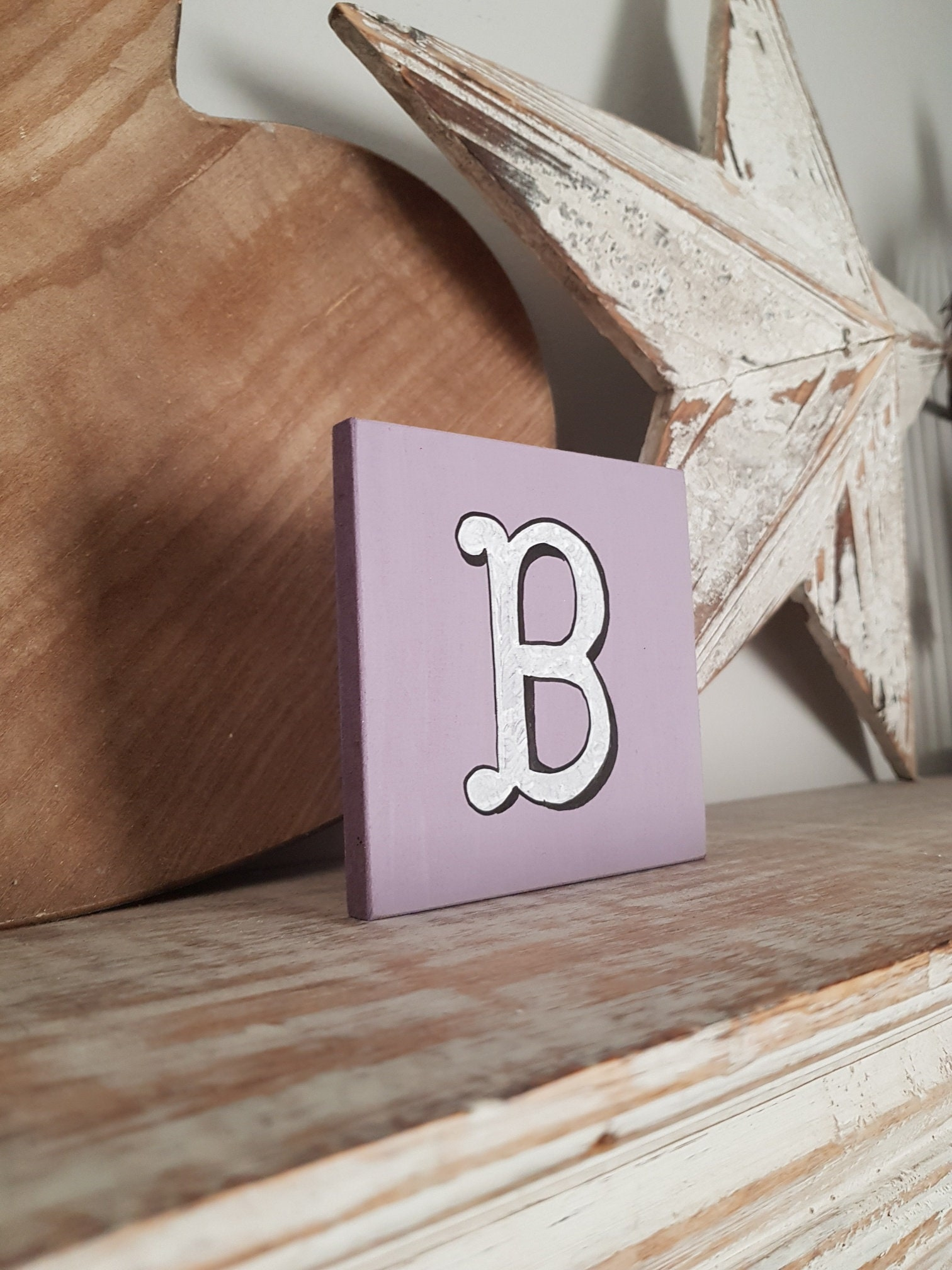 personalised letter blocks, initials, wooden letters, monograms, letter B