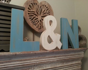 Set of 3 - Handpainted Freestanding Wedding Letters, Photo Props - 20cm - Various colours and finishes