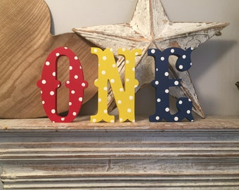 Freestanding Wooden Letters, Set of 3 - 15cm - Western Style Font, Carnival, ONE, various colours and fonts available
