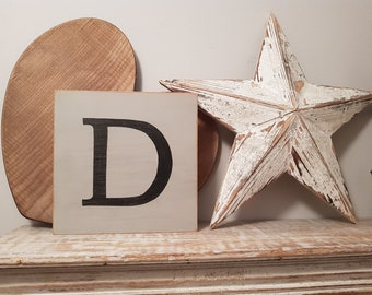 Wooden Letter Blocks, Plaques, Signs, Letter D, 20cm square, all letters available, rustic