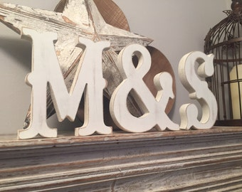 Freestanding Wooden Wedding Letters, Set of 3 - 20cm - Western Style Font, Carnival, various colours and finishes