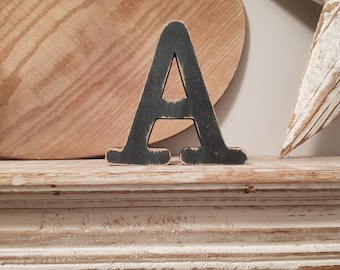 Wooden Letter A – Personalised Name Letter – Nursery Decoration Ideas – Rustic Room Décor – Typewriter Style A – Decorative Wooden Sign