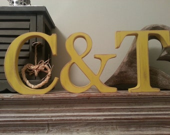 Wooden Wedding Letters, Photo Props, Set of 3, Free-standing, Various finishes - 15cm high