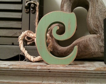 Freestanding Wooden Letter 'C' - Victorian Style - 25cm, Various Colours & Finishes