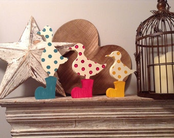Set of 3 Wooden Ducks - hand-painted, duck in wellies, any colour, free-standing