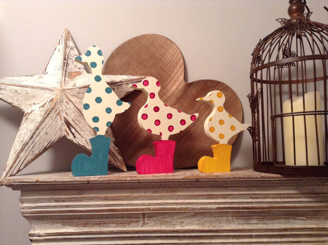 Set Of 3 Wooden Ducks Hand Painted Duck In Wellies Any Colour