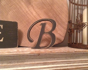 Hand-painted Wooden Letter B - Freestanding - Chancery Font - Various sizes, finishes and colours - 30cm