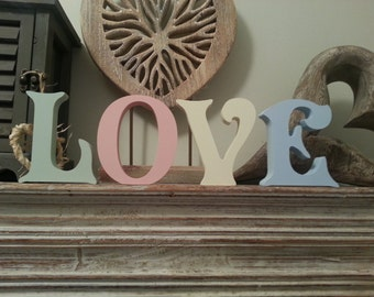 Set of 4 - Hand-painted Freestanding Letters, LOVE - Photo Props - 10cm - Various Colours & Finishes