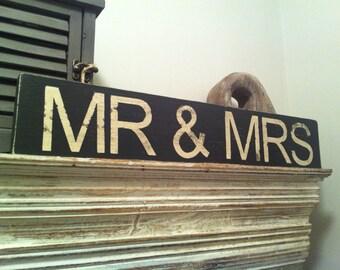 Large Handmade Wooden Sign Sign - MR & MRS - Distressed, rustic, vintage, 42cm