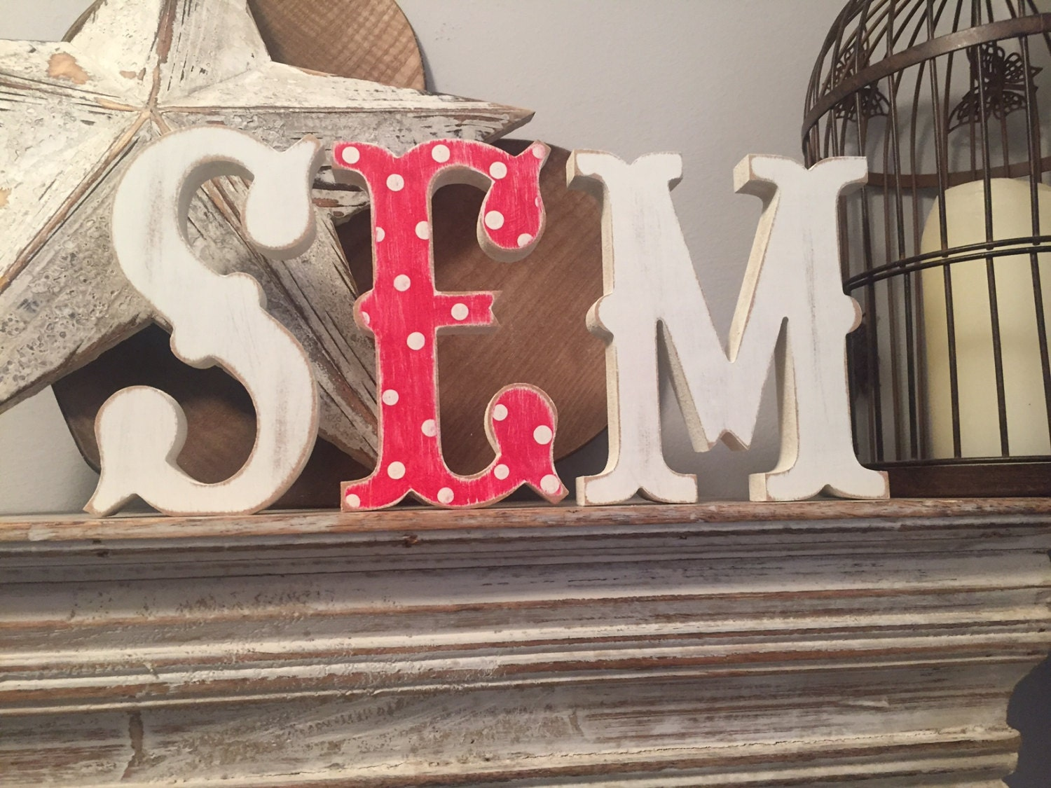 Freestanding Wooden Wedding Letters Set Of 3 20cm Western Style
