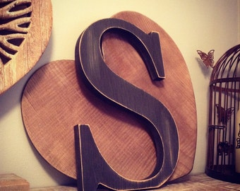 Hand-painted Wooden Letter S - Freestanding - Georgia Font - Various sizes, finishes and colours - 25cm