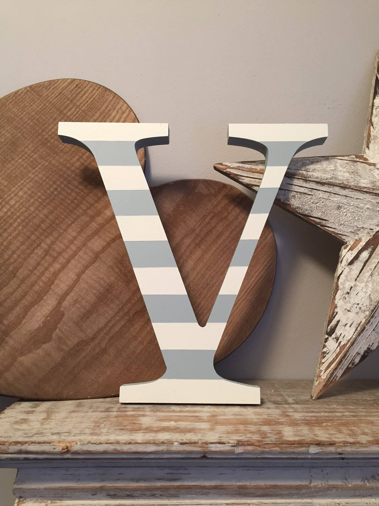 Painted Wooden Letter V Large Georgia Font 50cm High Almost 20