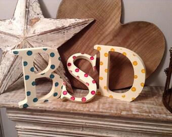 Set of 3 - Handpainted Wooden Freestanding Wedding Letters, Photo Props - 20cm