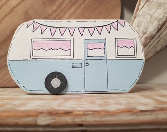 Painted Wooden Caravan Decoration ... standing, named, campers, glampers ... No.1 is Florence