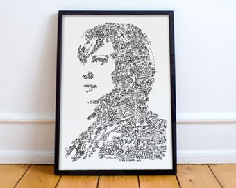"Kara Thrace ""Starbuck"" - Battlestar Galactica - BSG - portrait biography based  - tv serie Wall Art - Open edition -"