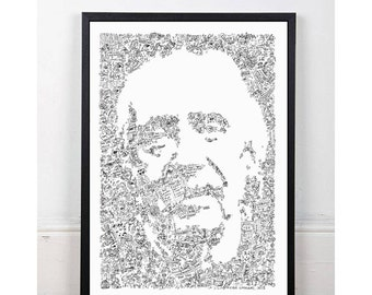 John carpenter - doodle portrait of the Horror / action / science fiction Movies - Open Edition Print - christine escape from new york thing