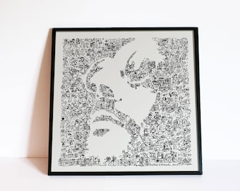 """The Professional - Leon - Jean Reno - Doodle portrait with stories and details - Movie Wall Art - Ltd edition of 100 - 8"""" x 8"""" or 12"""" x 12 """""""
