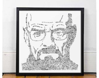 Breaking Bad Doodle Poster - Walter White - Heisenberg - Fine Art Print - Open Edition - albuquerque meth octopus car wash dog house rv lab