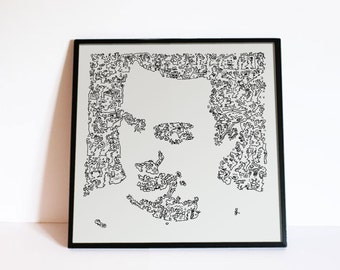 Mike Patton poster - Faith No More - doodle portrait tomahawk poster - Rock wall Art - doodle drawing