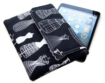 Ipad Mini Clutch, Padded Tablet Cover, Handmade Kindle Case, Black and White Dress Forms, UK Seller