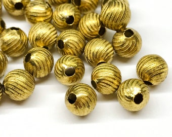Vintage Brass Beads 10 Beads Round Corrugated Melon 19mm