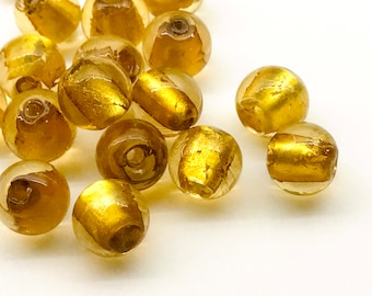 10 pcs Unique Handmade Gold and Silver Foil Glass Beads 12mm Golden Glass Beads Round